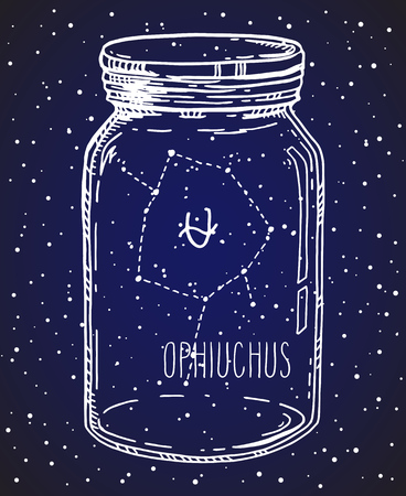Ophiuchus hand drawn Zodiac sign constellation in a mason jar. Vector graphics astrology illustration. Western horoscope mystic symbol over starry night sky.