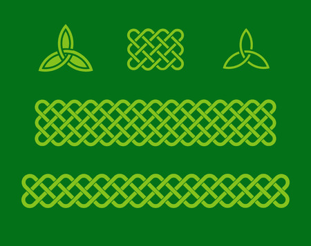 Traditional celtic style braided knot borders and triquetra design elements. Irish St. Patricks day vector background set.
