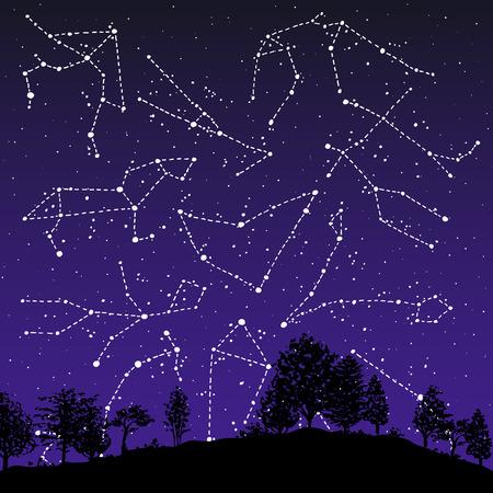 Constellations de signes du zodiaque dessinés à la main sur le ciel nocturne. Illustration d'astrologie de graphiques vectoriels. Collection de symboles mystiques de l'horoscope occidental.