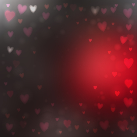 Abstract square blur red and gray background with small heart-shaped lights over it.