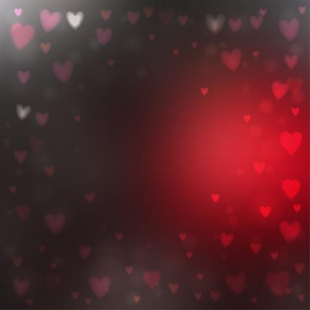 Abstrakte quadratische Unschärfe roter und grauer Hintergrund mit kleinen herzförmigen Lichtern darüber.