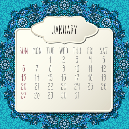January year 2019 vector monthly calendar over blue doodle ornate hand drawn floral background, week starting from Sunday. Beige beveled frames design.