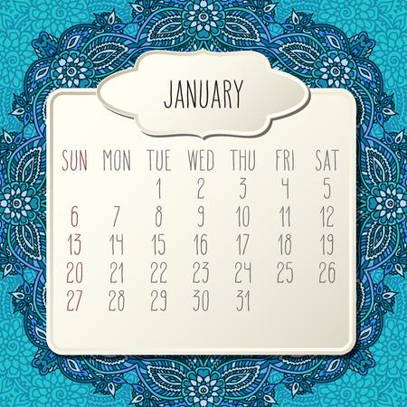 January year 2019 vector monthly calendar over blue doodle ornate hand drawn floral background, week starting from Sunday. Beige beveled frames design.