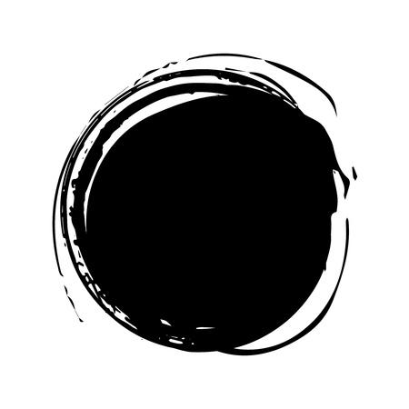 Coup de pinceau rond artistique grunge en noir isolé sur fond blanc. Illustration vectorielle d'élément de conception. Vecteurs