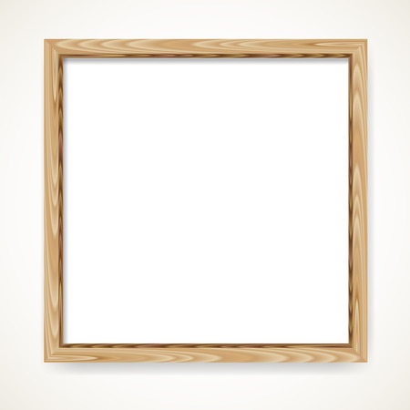 Realistic minimal square blank wood frame isolated over white background. Wooden border vector illustration. 矢量图像