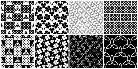 Traditional celtic style braided knots, triquetra symbols and clover leaves seamless patterns set. Irish St. Patricks day vector backrounds in black and white.