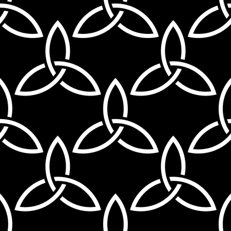 Traditional celtic style braided knots triquetra symbols seamless pattern. Irish St. Patricks day vector backround in black and white.