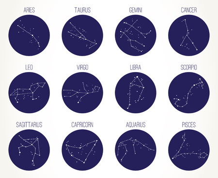 Hand drawn Zodiac signs constellations set. Vector graphics astrology illustration. Western horoscope mystic symbols collection, dark blue circles over white.