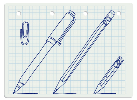 Stationery set hand drawn vector doodle illustration. New and old pencils, pen and clip collection in blue outline over squared notebook sheet.