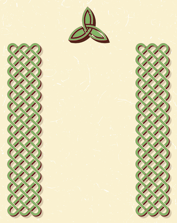 Traditional green celtic style braided knot borders and a triquetra over textured vintage background, room for your text.