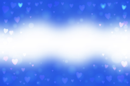 Abstract smooth blur blue background with small heart-shaped lights over it. Romantic vector illustration.