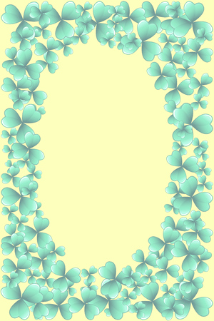 Saint Patrick's Day teal blue and yellow vector frame with clover shamrock leaves. Irish festival celebration greeting card design background. Nature floral spring backdrop.