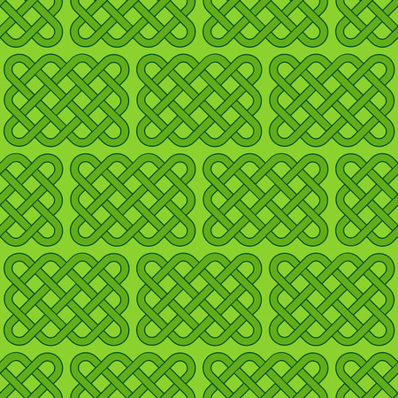Traditional green celtic style braided knot seamless pattern. Irish St. Patrick's day vector backround illustration.