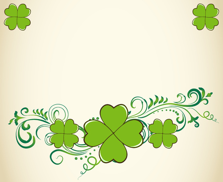 Saint Patrick's Day vector blank border with ornate swirls and green clover shamrock leaves. Irish festival celebration greeting card design background.