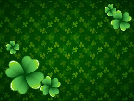 Rich green Saint Patricks Day frame with four-leaf clover shamrock leaves. Irish festival celebration greeting card design background. Horizontal backdrop.