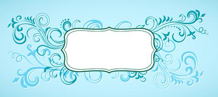 Blue floral ornamental frame. Çizim