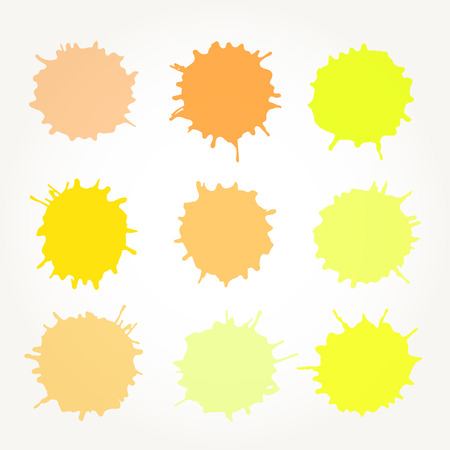 Set of vector abstract artistic paint splashes and drops. Yellow ink blots over white background.
