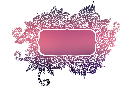 Colored ornate floral doodle frame isolated on white. Stok Fotoğraf - 125824811