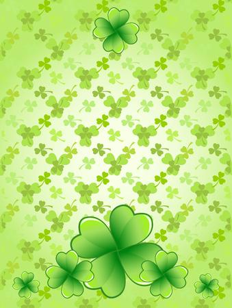 Light green Saint Patricks Day frame with four-leaf clover shamrock leaves. Irish festival celebration greeting card design background. Vertical backdrop.