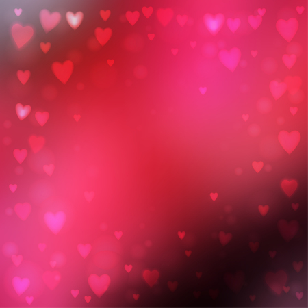 Abstract square blur pink background with small heart-shaped lights over it.