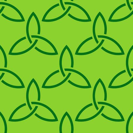 Traditional bright green celtic style braided knot seamless pattern. Irish St. Patricks day vector backround illustration.