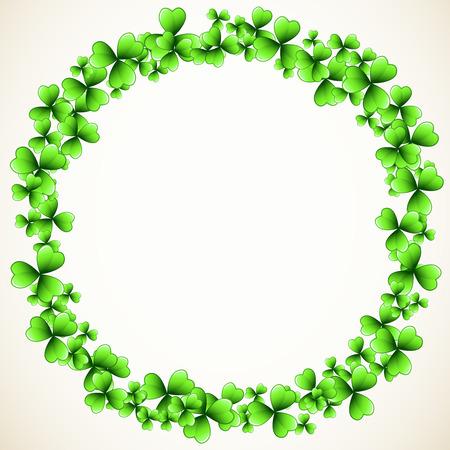 Saint Patrick's Day vector round frame with green clover shamrock leaves. Irish festival celebration greeting card design background. Nature floral spring backdrop.