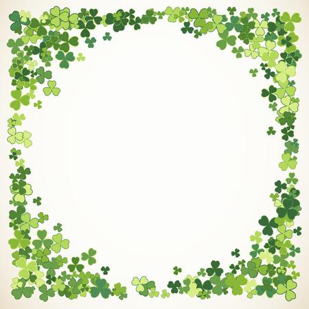 Saint Patrick's Day vector round frame with small green trefoil clover shamrock leaves. Irish festival celebration greeting card design background. Nature floral spring backdrop. Illustration