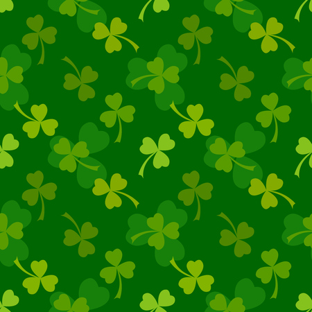 Rich green clover leaves vector seamless pattern. Nature spring background. Irish traditional St. Patrick's day design element.