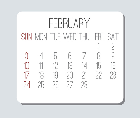 February year 2019 vector monthly calendar. Week starting from Sunday. Plain light grey and white contemporary design.