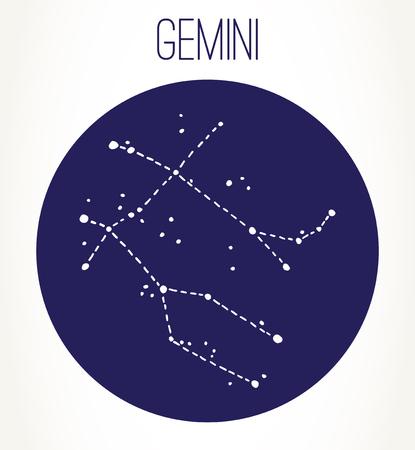Gemini hand drawn Zodiac sign constellation. Vector graphics astrology illustration. Western horoscope mystic symbol.