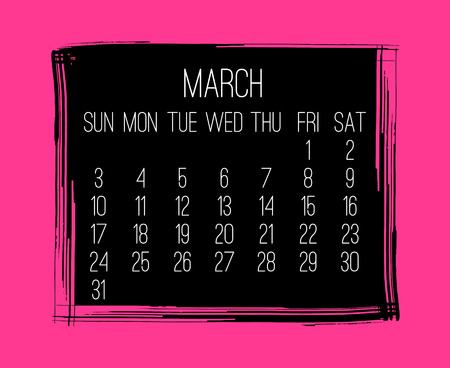 March year 2019 vector monthly modern calendar. Week starting from Sunday. Contemporary hand drawn brush stroke frame design in hot pink and black. Illustration