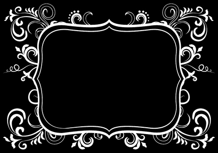 Doodle floral ornamental blank frame in white isolated over black. Vector background illustration. Çizim