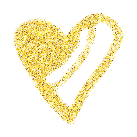 Gold glitter heart isolated over white background. Happy Valentines Day golden glamour design element.