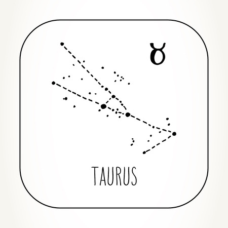 Taurus hand drawn Zodiac sign constellation. Vector graphics astrology illustration. Western horoscope mystic symbol in black and white.