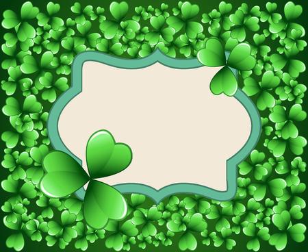 Saint Patrick's Day vector frame with green clover shamrock leaves. Irish festival celebration greeting card design background. Nature floral spring backdrop. Illustration