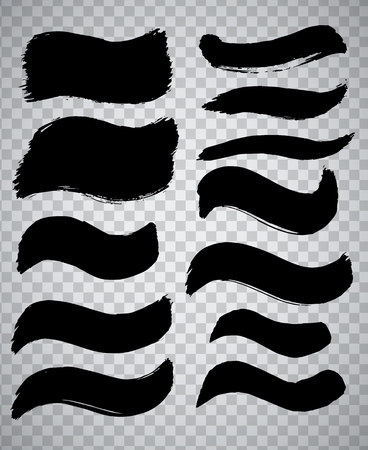 Collection of miscellaneous black grunge brush strokes over transparent background. Set of design elements. Vector illustration.
