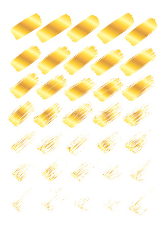 Collection of miscellaneous golden grunge brush strokes isolated over white background. Set of design elements. Vector illustration. Illustration