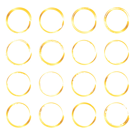 Collection of miscellaneous golden round grunge brush strokes isolated over white background. Set of design elements. Vector illustration.
