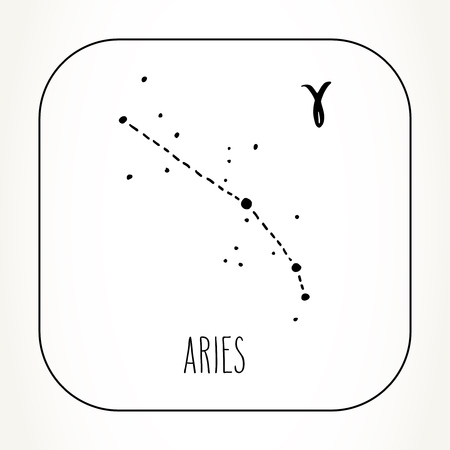 Aries hand drawn Zodiac sign constellation. Vector graphics astrology illustration. Western horoscope mystic symbol in black and white.