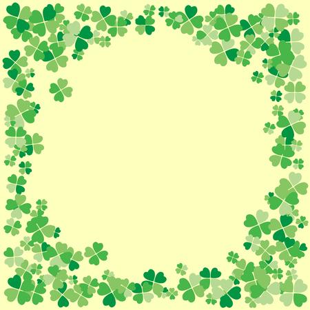 Saint Patrick's Day Light Vector Frame mit kleinen grünen vierblättrigen Kleeblattblättern. Irischer Festivalfeier-Grußkarten-Designhintergrund. Natur floral Frühlingskulisse.