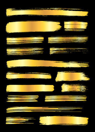Collection of miscellaneous golden grunge brush strokes isolated over black background. Set of design elements. Vector illustration. Illustration