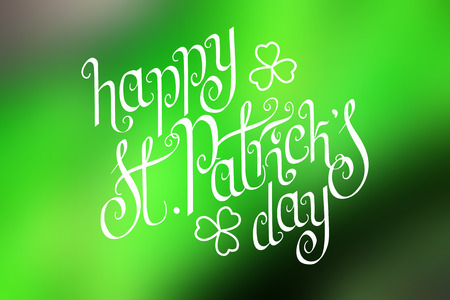 Hand written St. Patricks day greetings over horizontal abstract smooth blur green background. Illustration