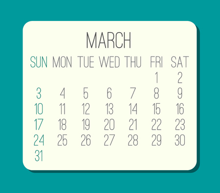 March year 2019 plain contemporary vector monthly calendar. Week starting from Sunday. Beige rounded rectangle over bright turquoise green background.