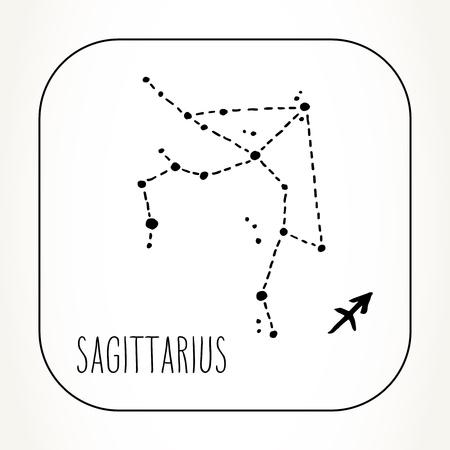 Sagitario dibujado a mano constelación de signo del zodíaco. Ilustración de astrología de gráficos vectoriales. Símbolo místico del horóscopo occidental en blanco y negro.