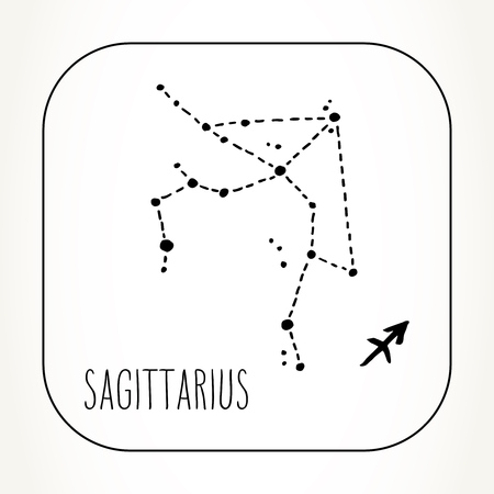 Sagittarius hand drawn Zodiac sign constellation. Vector graphics astrology illustration. Western horoscope mystic symbol in black and white.