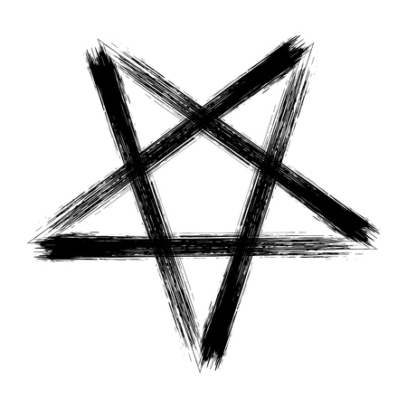 Reversed pentagram icon, brush drawing magic occult star symbol. Vector illustration in black isolated over white.