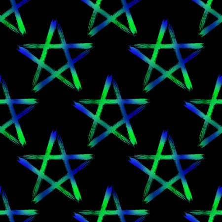 Pentagram seamless pattern, brush drawing magic occult star symbol. Vector background illustration in blue and green isolated over black.