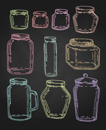 Set di barattoli multicolori vintage disegnati a mano di vettore. Illustrazione di schizzo di contorno isolata sopra il nero. Vettoriali