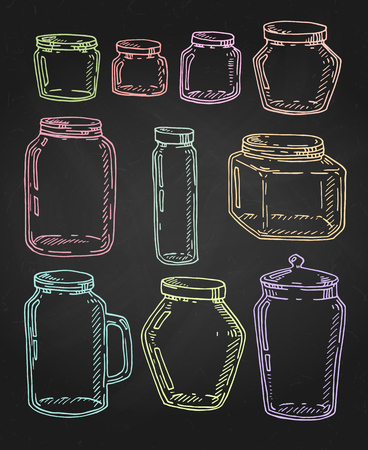 Vector hand drawn vintage multicolor jars set. Contour sketch illustration isolated over black. Vector Illustration