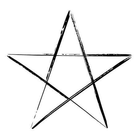 Pentagram icon, brush drawing magic occult star symbol. Vector illustration in black isolated over white.